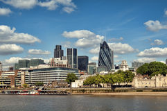 City of London. Skyline. (Tower 42, Willis Building, Aviva, Gherkin, Tower of London Royalty Free Stock Photography