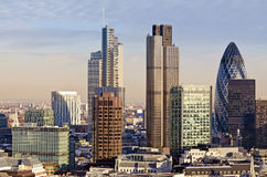 City of London. One of the leading centres of global finance. This view includes Tower 42 Gherkin,Willis Building, Stock Exchange Tower and Lloyd`s of London Royalty Free Stock Photos