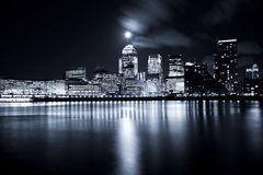 City of London. Full moon over London skyscrapers Stock Image