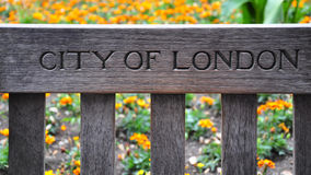 City of London. Written on the bench Stock Photos