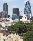 City of London. Banks and Skyscrapers of the city of London, with the Tower of London in the foreground Royalty Free Stock Photos