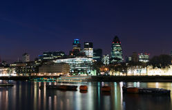 City of London. River Thames and the City of London at night royalty free stock images