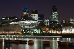 City of London. River Thames and the City of London at night stock image