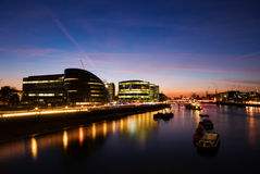 City of London. River Thames and the City of London at sunset stock photos