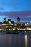 City of London. Night shot over the Thames of the City of London stock images