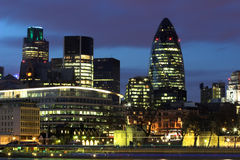 City of London. Night shot over the Thames of the City of London royalty free stock photography