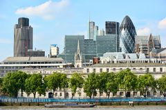 City of London, from across the River Thames Royalty Free Stock Photos