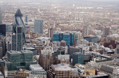 City of London aerial view. View from a tall building of the City of London including the blue St Botolph House Royalty Free Stock Images