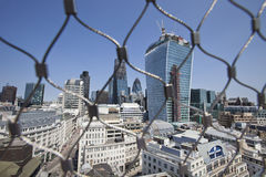 City of London Behind wire net at the top of the Monument, London Stock Photo