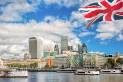 The City of London with boats in United Kingdom Stock Photo
