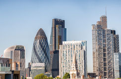 City of London. Buildings and skyline on a sunny day Stock Photos