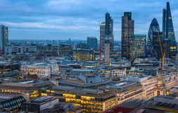 City of London, business and banking area. London's panorama at sun set. Stock Images