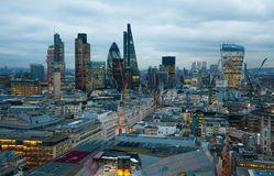 City of London, business and banking area. London's panorama at sun set. LONDON, UK - JANUARY 27, 2015: City of London, business and banking area. London's Stock Photos