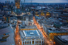 City of London, business and banking area. London's panorama at sun set. Royalty Free Stock Image