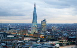 City of London, business and banking area. London's panorama at sun set. Royalty Free Stock Photo