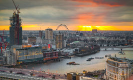 City of London, business and banking area. London's panorama at sun set. Stock Image