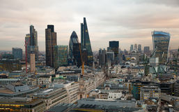 City of London, business and banking aria. London's panorama in sun set. Stock Photo