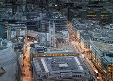 City of London, business and banking aria. London's panorama in sun set. Royalty Free Stock Photos