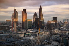 City of London, business and banking aria. London's panorama in sun set. Royalty Free Stock Images