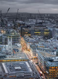 City of London, business and banking aria. London's panorama in sun set. Royalty Free Stock Photo
