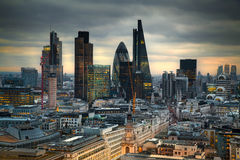 City of London, business and banking aria. London's panorama in sun set. Stock Image
