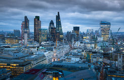 City of London, business and banking aria. London's panorama in sun set. LONDON, UK - JANUARY 27, 2015: City of London, business and banking aria. London's Royalty Free Stock Image