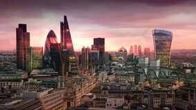 City of London, business and banking aria. London`s panorama in sun set. View from the St. Paul cathedral. LONDON, UK - JANUARY 27, 2015: City of London stock video