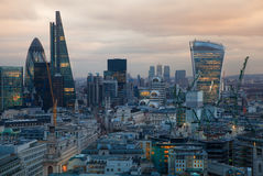 City of London, business and banking aria. London's panorama in sun set. View from the St. Paul cathedral Stock Photos