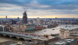 City of London, business and banking aria. London's panorama in sun set. View from the St. Paul cathedral Royalty Free Stock Photos