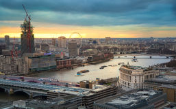 City of London, business and banking aria. London's panorama in sun set. View from the St. Paul cathedral Royalty Free Stock Photo