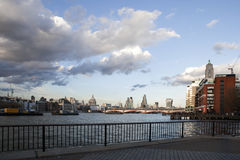 City of London business and financial aria view from the River Thames embankment Stock Photos