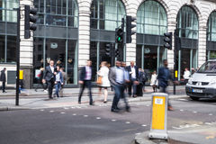City of London business life. Group of business people going to work Royalty Free Stock Photos