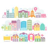 City London colorful silhouettes of buildings Stock Photos