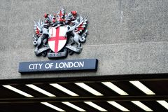 City of london crest above road tunnel Royalty Free Stock Photo