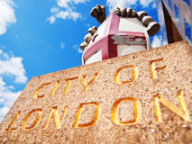 City of London Emblem. London, United Kingdom - April 30, 2008 : The emblem of the city of London. It combines the cross of Saint George and the sword of Saint royalty free stock photo