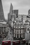 The City London England with iconic Red Buses stock photo