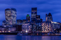 City of London finance district at night. Iconic view of the London skyline at night stock photo