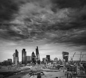 City of London financial district square mile skyline with storm Stock Images