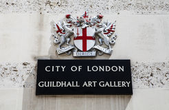 City of London Guildhall Art Gallery. The entrance sign for the Guildhall Art Gallery in the City of London Stock Images