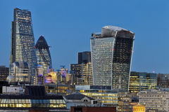 City of London high rise buildings at night Stock Photos
