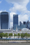 City of London landmark buildings near Thames river Stock Images