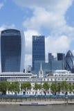 City of London landmark buildings near Thames river Stock Images