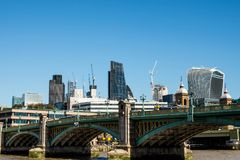 City of London Landmark Buildings. Two City of London Financial District Landmark Buildings or Skyscrapers Tower above Londons` Square Mile With Construction Royalty Free Stock Images
