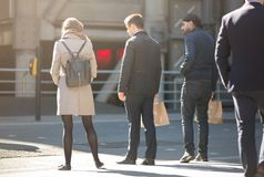 City of London, lots of walking business people on the street. UK Royalty Free Stock Image