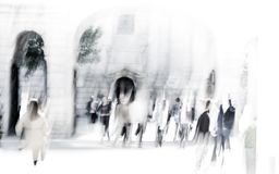 City of London lunch time. Blurred image of office people walking on the street. London, UK Stock Photography