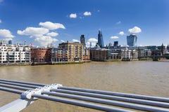 City of London from Millennium Bridge Royalty Free Stock Photos