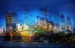 City of London Multiple Exposure image. UK Royalty Free Stock Photos