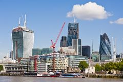 City of London new Skyline 2013. New London Skyline 2013 with skyscrapers of The City including 30 St Mary Axe The Gherkin (R), 122 Leadenhall Street The Stock Photography