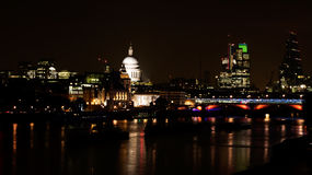 The City of London by night with St Paul's cathedral and the Riv. The financial district. No Eye or logos visible Royalty Free Stock Photos