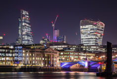 City of London at night. London Thames River riverside at night  England Royalty Free Stock Images
